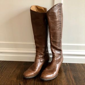 Born Brown Studded Leather Knee High Boots, Size 9
